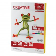 Бумага цветная CREATIVE color, А4, 80 г/м2, 100 л., интенсив, желтая, БИpr-100ж