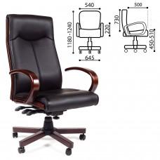"""Кресло офисное """"Элегант"""", СН 411, экокожа, дерево, черное, 7001364"""