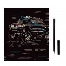 """Гравюра с эффектом голографии """"Hummer (Хаммер)"""", 18х24 см, основа, штихель, LORI, Гр-208"""