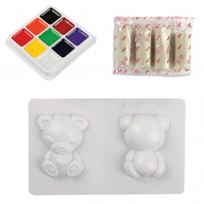 """Набор для изготовления игрушки из глины """"Игрушечный мишка"""", глина, формы, краски, LORI, Пз/Гл-002"""