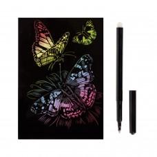 """Гравюра с эффектом голографии малая """"Красивые бабочки"""", 10х15 см, основа, штихель, LORI, Гр-226"""