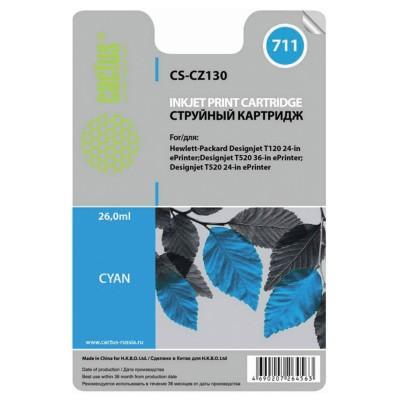 Картридж струйный CACTUS (CS-CZ130) для плоттеров HP DesignJet T120/T520, голубой, 26 мл