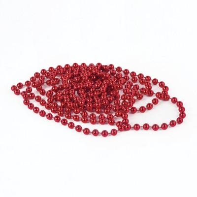 Бусы елочные ЗОЛОТАЯ СКАЗКА, диаметр 7,5 мм, длина 2,7 м, красные, 591137