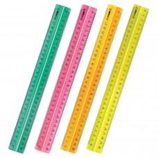 """Линейка пластиковая, 30 см, СТАММ """"Neon Crystal"""", с держателем, неоновая, ЛН42"""