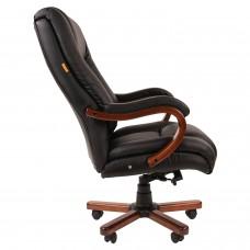 Кресло офисное CH 503, нагрузка до 180 кг, кожа, дерево, черное