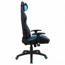 """Кресло компьютерное BRABIX """"GT Master GM-110"""", две подушки, экокожа, черное/голубое, 531928"""