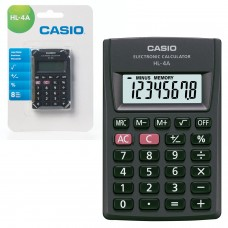 Калькулятор карманный CASIO HL-4A-S, КОМПАКТНЫЙ (87х56х8,6 мм), 8 разрядов, питание от батареи, черный, HL-4A-S-EP