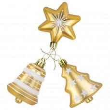 """Набор украшений для ели ЗОЛОТАЯ СКАЗКА """"Ель, звезда, колокольчик"""", 3 шт., пластик, золото, 591115"""