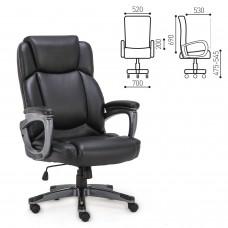 """Кресло офисное BRABIX PREMIUM """"Favorite EX-577"""", пружинный блок, рециклированная кожа, черное, 531934"""