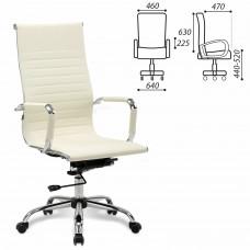 """Кресло офисное BRABIX """"Energy EX-509"""", экокожа, хром, бежевое, 531166"""
