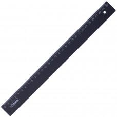 Линейка пластиковая 30 см, СТАММ, непрозрачная, черная, ЛН35