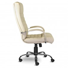 """Кресло офисное """"Орион"""", кожа, хром, монолитный каркас, бежевое К-21"""