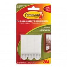 Держатели-застежки самоклеящиеся для рамок COMMAND, КОМПЛЕКТ 3 шт., легкоудаляемые, средние, белые, до 1 кг, 17201