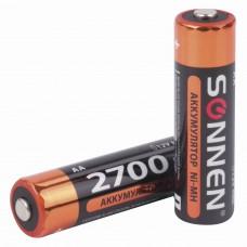 Батарейки аккумуляторные SONNEN, АА (HR06), Ni-Mh, 2700 mAh, 2 шт., в блистере, 454235