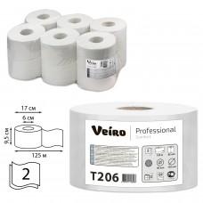 Бумага туалетная 125 м, VEIRO Professional (Система T2), комплект 12 шт., Comfort, 2-слойная, T206