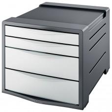 """Блок из 4 закрытых лотков для бумаги, настольный, ESSELTE """"VIVIDA"""", 285х245х365 мм, белый, 623959"""