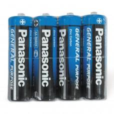 Батарейки КОМПЛЕКТ 4 шт., PANASONIC AA R6 (316), пальчиковые, 1.5 В