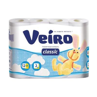 Бумага туалетная бытовая, спайка 12 шт., 2-х слойная (12х17,5 м), VEIRO Classic, белая, 5с212