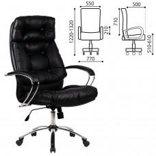"""Кресло офисное МЕТТА """"LK-14CH"""", кожа, хром, черное"""