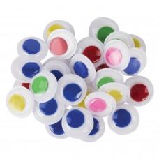 Глазки для творчества самоклеящиеся, вращающиеся, 15 мм, 30 шт., цветные, ОСТРОВ СОКРОВИЩ, 661305