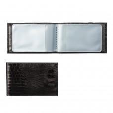 """Визитница карманная BEFLER """"Ящерица"""", на 40 визитных карт, натуральная кожа, тиснение, черная, V.30.-3"""