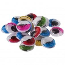 Глазки для творчества самоклеящиеся, вращающиеся, с ресницами, 18 мм, 20 шт., цветные, ОСТРОВ СОКРОВИЩ, 661306
