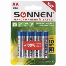 Батарейки КОМПЛЕКТ 4 шт., SONNEN Super Alkaline, АА (LR6,15А), алкалиновые, пальчиковые, блистер, 451094
