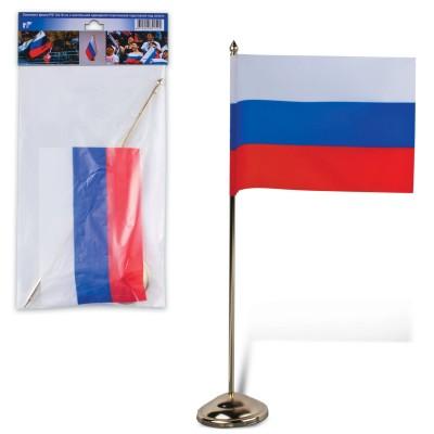 Флаг России, 12х18 см, настольный с флагштоком, высота 30 см, пластик под золото, упаковка с европодвесом, 550023