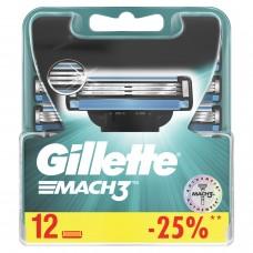 """Сменные кассеты для бритья 12 шт., GILLETTE (Жиллет) """"Mach3"""", для мужчин, MAG-81618704"""