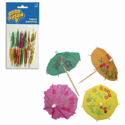 """Праздничная пика для канапе """"Зонтик"""", комплект 12 шт., деревянная, 10 см, в упаковке с европодвесом, 1502-0528"""