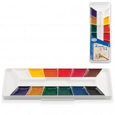 """Краски акварельные ГАММА """"Лицей"""", 12 цветов, медовые, без кисти, пластиковая коробка"""