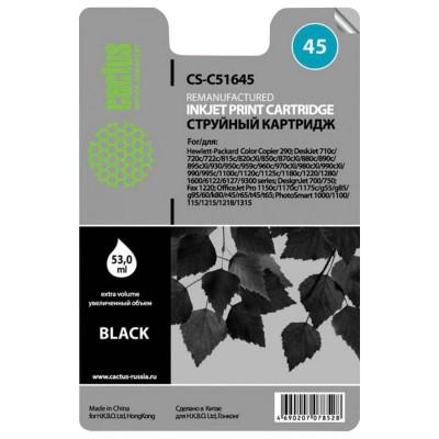 Картридж струйный CACTUS (CS-51645) для HP Deskjet 720/820/1120/1220, черный, 53 мл