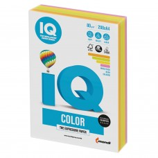 Бумага цветная IQ color, А4, 80 г/м2, 200 л., (4 цвета x 50 листов), микс неон, RB04