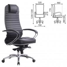 """Кресло офисное МЕТТА """"SAMURAI"""" KL-1, кожа, черное"""