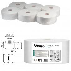 Бумага туалетная БОЛЬШОЙ ДИАМЕТР РУЛОНА, 450 м, VEIRO Professional (Система T1), КОМПЛЕКТ 6 шт., Basic, T101
