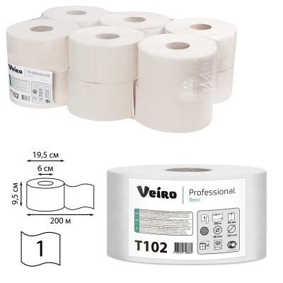 Бумага туалетная 200 м, VEIRO Professional (Система T2), КОМПЛЕКТ 12 шт., Basic, T102