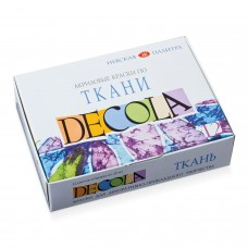 "Краски по ткани акриловые ""Декола"", 12 цветов по 20 мл, в баночках, 4141216"