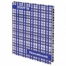 """Блокнот МАЛЫЙ ФОРМАТ (110х147 мм) А6, 80 л., твердый переплет, ламинированная обложка, клетка, STAFF, """"Шотландка"""", 120953"""