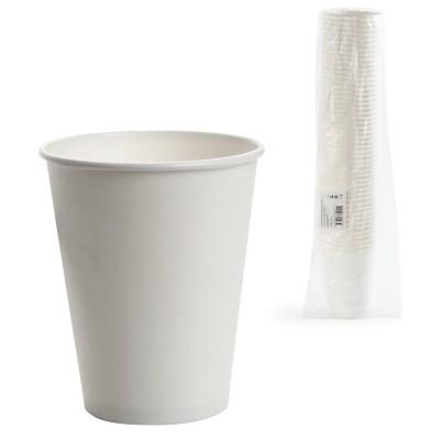 Одноразовые стаканы 300 мл, КОМПЛЕКТ 50 шт., бумажные однослойные, белые, холодное/горячее, ФОРМАЦИЯ, HB90-430-0000-50