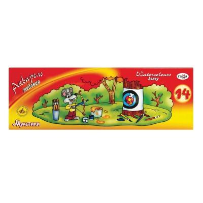 """Краски акварельные ГАММА """"Мультики"""", 14 цветов, медовые, без кисти, картонная коробка, 211050"""