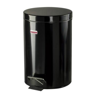 """Ведро-контейнер для мусора (урна) с педалью ЛАЙМА """"Classic"""", 12 л, черное, глянцевое, металл, со съемным внутренним ведром, 602850"""