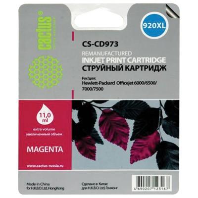 Картридж струйный CACTUS (CS-CD973) для HP Officejet 6000/6500/7000, пурпурный, 11 мл