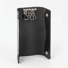 "Футляр для ключей BEFLER ""Classic"", натуральная кожа, две кнопки, 60x130х15 мм, черный, KL.11.-1"