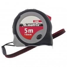 """Рулетка измерительная 5,0 м х 19 мм, MATRIX """"Continuous Fixation"""", обрезиненный корпус, 2 механизма фиксации, 31088"""