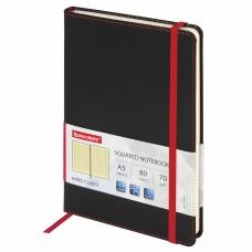 """Блокнот А5 (148x218 мм), BRAUBERG """"Office"""", под кожу, резинка, 80 л., черный, 111027"""