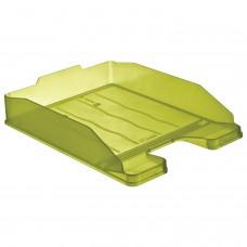 """Лоток горизонтальный для бумаг СТАММ """"Эксперт"""", А4 (340х255х63 мм), тонированный зеленый (лайм), ЛТ206"""