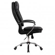 """Кресло офисное МЕТТА """"LK-11CH"""", кожа, хром, черное"""