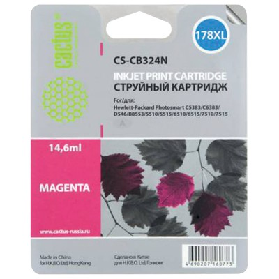 Картридж струйный CACTUS (CS-CB324/N) для HP Photosmart D5400, пурпурный, 14,6 мл, CS-CB324(N)