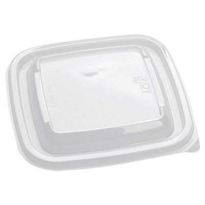 Крышки для одноразовых квадратных контейнеров 126х126х13 мм, КОМПЛЕКТ 50 шт., ПЭТ, прозрачные, 605116-605118, СТИРОЛПЛАСТ