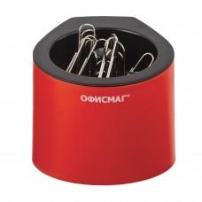Скрепочница магнитная ОФИСМАГ с 30 скрепками, стильный корпус, красно-черная, 225192